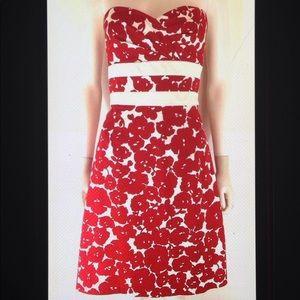 💋Donna Ricco Strapless Floral Tie A Line Dress